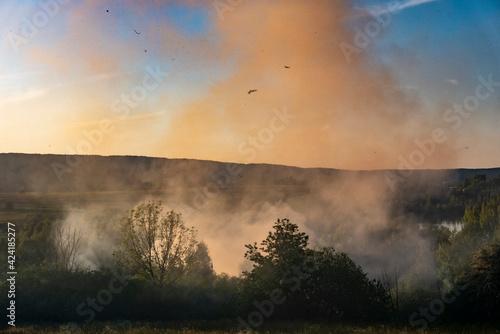 Canvas Print Fumée d'écobuage