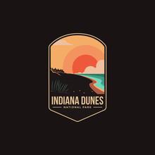 Emblem Patch Logo Illustration Of Indiana Dunes National Park On Dark Background