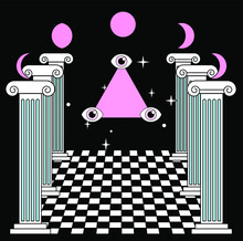 Surreal Vaporwave Landscape With A Checkerboard Floor, Ancient Columns And The All-seeing Eye In A Triangle. Trendy Occult Psychedelic Style Illustration.