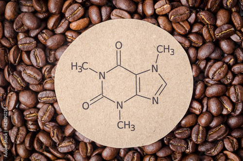 Obraz Structural chemical formula of caffeine molecule with roasted coffee beans. - fototapety do salonu