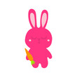 A cute sleepy pink bunny holding a carrot in its paw. Easter bunny and carrot isolated on white background. Vector graphics.