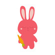 A cute sleepy pink bunny holding a carrot in its paw. Easter bunny and carrot isolated on white background.