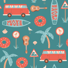 Seamless Summer Pattern With Car Or Bus, Surfboard, Road Sign With Seagull, Ukulele, Palm, Shell And Lettering 'Wave Lover'.  Vector Illustration