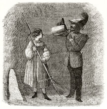Soldier Drinking Beer From A Large Mug While A Woman Hold His Rifle With Bayonet In Munich. Ancient Grey Tone Etching Style Art By Lancelot, Le Tour Du Monde, 1862