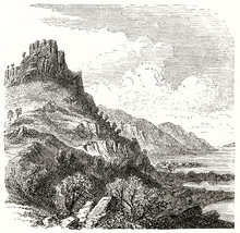 Pointed Rocky Hill With Tower On Top Fronting Sea Shore East Coast Of Stansbury Island. Ancient Grey Tone Etching Style Art By Ferogio, Le Tour Du Monde, 1862