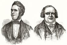 Bust Portrait Of Taylor (1808 - 1887) And W. Richards (1804 - 1854), Mormon Leaders. Ancient Grey Tone Etching Style Art By Unknown Author, Le Tour Du Monde, 1862