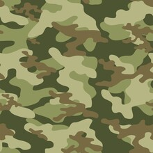 Camouflage Seamless Texture. Green  Military Camouflage Endless Print Background. Vector Illustration