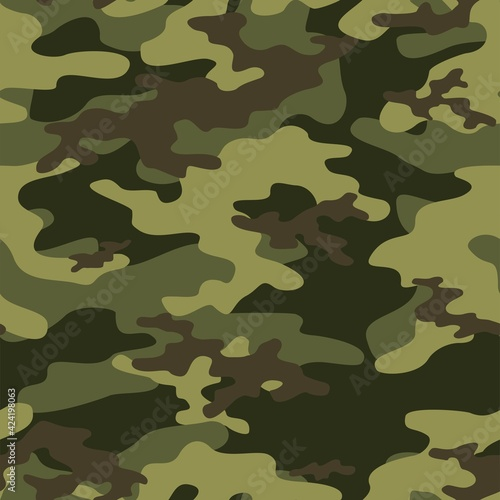 Fotografia Full seamless abstract military green camouflage skin pattern vector for decor and textile