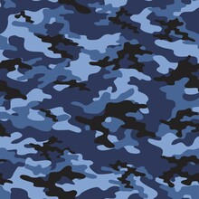 Blue Military Camouflage Print Seamless Vector Pattern. Green Background .modern.