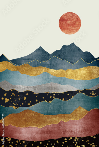 Silhouettes of mountains. Abstraction of textured plaster with gold elements. Mural, mural, Wallpapers for interior printing