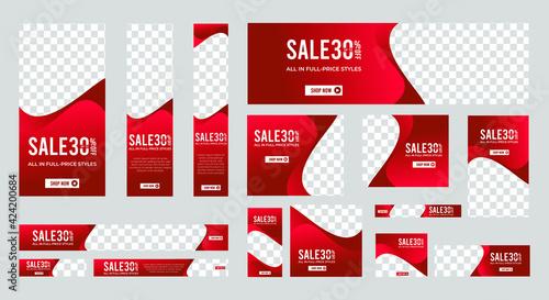 Abstract banner design web template Set, Horizontal header web banner. Modern Gradient red cover header background for website design, Social Media Cover ads banner, flyer, invitation card