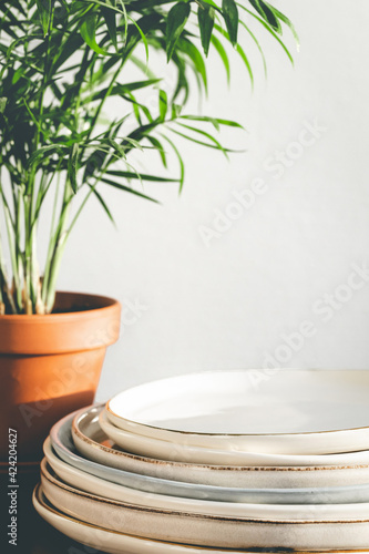 Stack of ceramic plates and houseplant against white wall. Fototapet