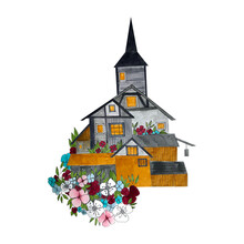 Traditional Fachwerk House With Flowers In Hand Sketch Drawn By Hand In Watercolors. Illustration In Gray Tones With Orange Details, Delicate Pastel Flowers.