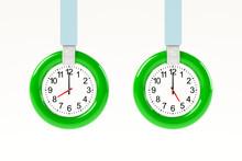 時計がはめ込まれたつり革の3Dイラスト