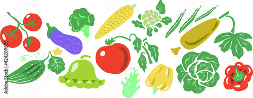 Foto set with vegetables vector hand-drawn illustration