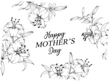 Greeting Card Mother's Day With Line Art Flowers. Hand Drawn Flower.