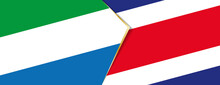 Sierra Leone And Costa Rica Flags, Two Vector Flags.