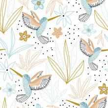 Seamless Childish Pattern With Hand Drawn Collibi,florals. Creative Scandinavian Style Kids Texture For Fabric, Wrapping, Textile, Wallpaper, Apparel. Vector Illustration