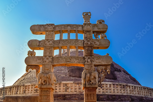 Sanchi Stupa is a Buddhist complex, famous for its Great Stupa, on a hilltop at Fototapeta