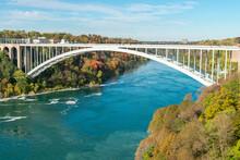 Rainbow Bridge Between USA And Canada And Surrounding Niagara River Shore