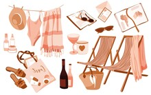 Woman Beach Accessories Sticker Set. Striped Sun Longers With Plaid, Beach Towel, Swimsuit And Straw Hat On The Rope, SPF, Shopper, Wine Bottles, Sunglasses. Map Atlas. Nostalgic Summer Illustrations