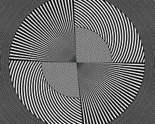 Abstract Rotated White Lines In Circle Form On Black Background. Geometric Art. Design Element. Digital Image With A Psychedelic Stripes. Vector Illustration