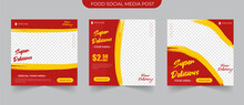 Fast Food Post And Set Collections Of Fully Editable Square Banners. Food Instagram Post Template Design. Suitable For Social Media Post Restaurant And Culinary Promotion. Red And Yellow Background