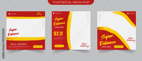 Fototapeta Fast food post and Set collections of fully editable square banners. Food Instagram post template design. Suitable for Social Media Post Restaurant and culinary Promotion. Red and yellow background obraz