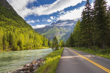 Upper McDonald Creek And Going-to-the-Sun Road With Mountain Background, Glacier National Park, Montana