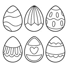 Vector Illustration Coloring Page Of Cartoon Easter Eggs For Children, Coloring And Scrap Book, Printable