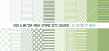 Sage And Matcha Stripes, Polka Dots And Chevron Seamless Vector Patterns In Calming Neutral Palette Of Leafy Natural Green Colors. 20 Pattern Tile Swatches Included.