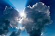 canvas print picture - Sonne bricht duch Wolken