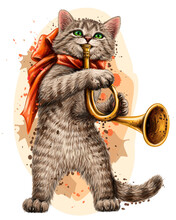 Cat. Wall Sticker. Color, Graphic Portrait Of Cute Kitten With A Pipe On A White Background In Watercolor Style. Digital Vector Graphics.  Individual Layers