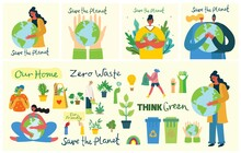 Set Of Eco Save Environment Pictures. People Taking Care Of Planet Collage. Zero Waste, Think Green, Save The Planet, Our Home Hand Written Text