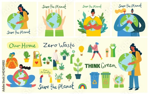 Obraz Set of eco save environment pictures. People taking care of planet collage. Zero waste, think green, save the planet, our home hand written text - fototapety do salonu