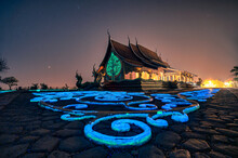 Church Temple With Bodhi Tree Glowing And Fluorescence Painting On The Floor At Wat Sirindhorn Wararam Or Wat Phu Prao At Ubon Ratchathani