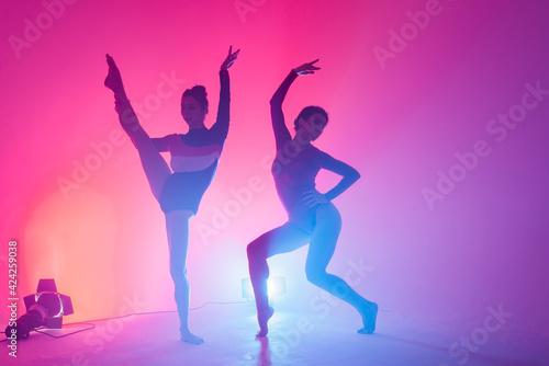 Slika na platnu The two modern ballet dancers in black and red bodysuit, studio