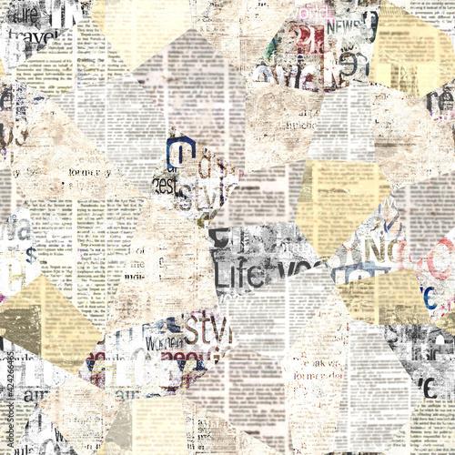 Newspaper paper grunge newsprint patchwork seamless pattern background - fototapety na wymiar