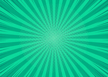 Pop Art Background. Comic Pattern With Starburst And Halftone. Cartoon Retro Sunburst Effect. Green Banner With Dots, Beams. Vintage Sunshine Texture. Vector Illustration.