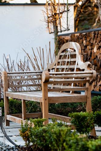 Fototapeta drewno w ogrodzie, ławeczka w ogrodzie, nowoczesny ogród, bukszpan, ogród obraz