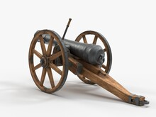 Ramadan Cannon, 3d Illustration, Isolated On White. Suitable For War, Medieval, Hystoric, Islamic And Ramadan Themes.