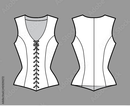 Canvastavla Bodice vest waistcoat technical fashion illustration with sleeveless, V-neck, lacing front closure, fitted body