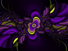 Yellow Purple Violet Petals, Abstract Background With Flowers
