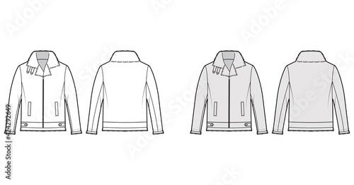 Obraz na płótnie Zip-up Bomber leather jacket technical fashion illustration with fur shearing, oversized, long sleeves, pockets