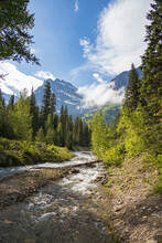 Upper Mcdonald Creek With Mountain Background, Glacier National Park, Montana