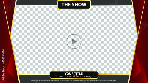 Slika na platnu 16:9 Frame template or border or layout for video live stream and editing, with