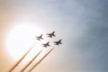 Airplane In The Sky Sun Set