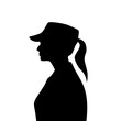 Silhouette of a female soldier with hat from side view.