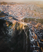 Aerial View Of Puente Nuevo, An Historical Bridge And Museum With Ronda Townscape In Background During Sunset, Ronda, Spain.