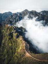 Aerial View Of The Steep Pathway Going To Pico Areeiro Peak Mountain, Madeira Island, Portugal.